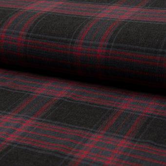 Tissu flanelle à carreaux rouge