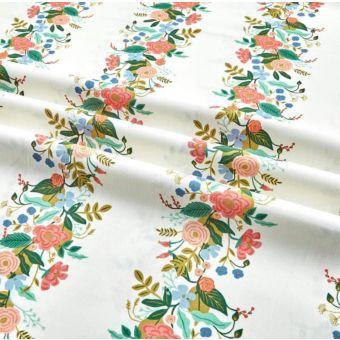 Tissu cretonne de coton épaisse crème imprimé rivière de fleurs - Rifle Paper