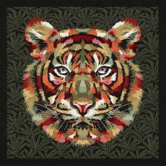 Carré de tissu jacquard tête de lion