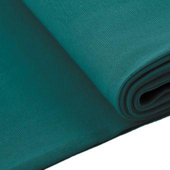Tissu jersey bord-côte tubulaire bleu canard
