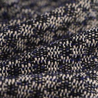 Tissu Tweed polyester écru marine