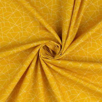 Tissu popeline de coton moutarde à motif origami