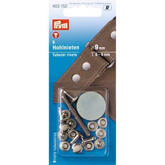 Rivets tubulaires, 6-9mm, argenté, 8 pièces