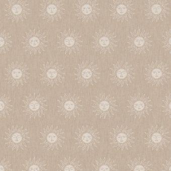 Tissu bachette effet lin motifs soleils