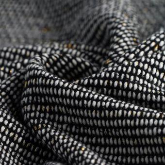 Tissu maille coton rayé écru noir