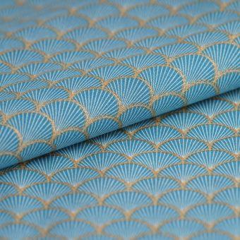 Tissu japonais bio éventails bleu