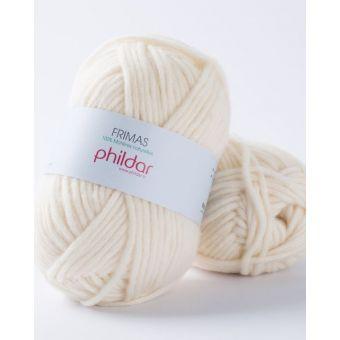 Pelote de fil à tricoter Phildar Frimas écru