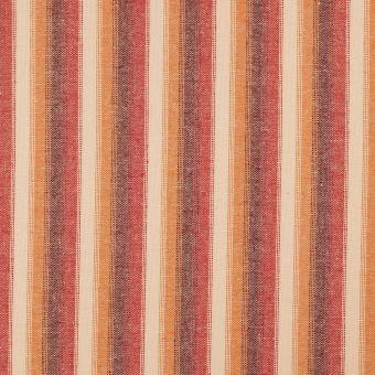 Tissu toile viscose effet lin ocre à rayures