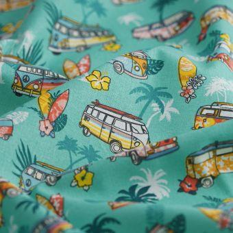 Tissu coton imprimé van et vacances bleu