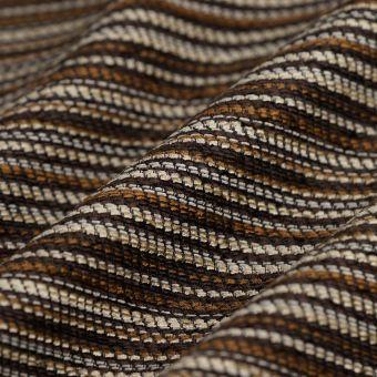 Tissu velours chenille rayures marrons