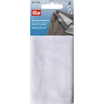 Poche anti-vol avec fermeture à glissière, 14 x 20cm, blanc cassé