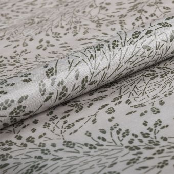 Tissu nappe enduite végétal vert gris - AU Maison