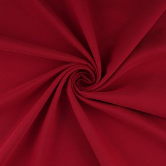 Tissu velours polyester lisse rouge