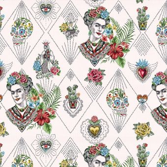 Tissu jacquard Frida Khalo blanc