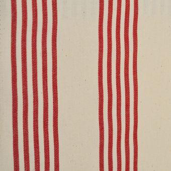 Tissu toile coton tissé-teint double enduction acrylique Cabana rayures rouges