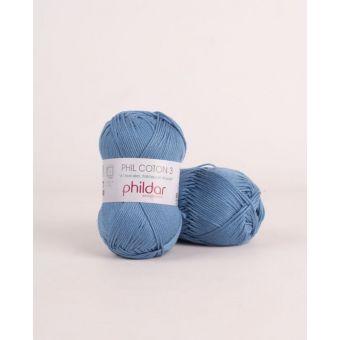 Pelote de coton à tricoter Phildar 3 océan