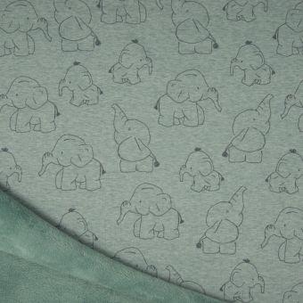 Tissu molleton sweat éléphant vert à envers polaire alpfleece
