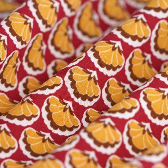 Tissu popeline Ecovero éventails jaune rouge