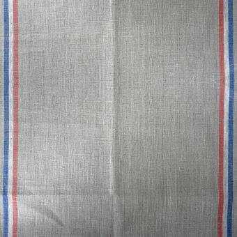 Tissu toile torchon lin blanc rayé bleu blanc rouge