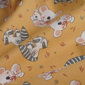 Tissu Cretonne koala raton jaune
