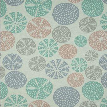 Tissu molleton sweat French Terry coton bio cercles vert