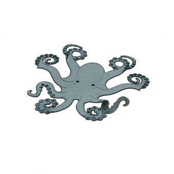 Écusson thermocollant poulpe bleu gris