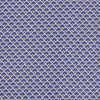 Tissu coton imprimé japonais éventails bleu indigo