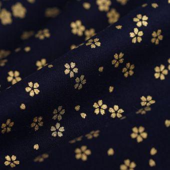 Tissu japonais fleurs dorées