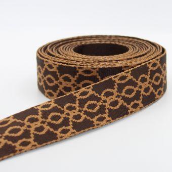 Sangle pour sac polycoton arabesque marron 36mm