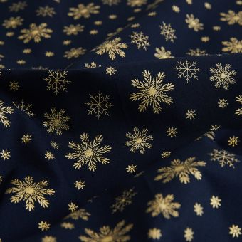 Tissu de Noël bleu flocons dorés