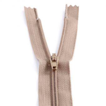 Fermeture polyester non séparable à glissière - Marron clair