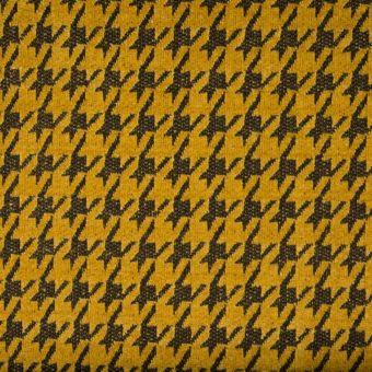 Tissu chenille pied de poule jaune