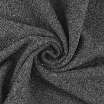 Tissu jersey bord-côte tubulaire gris foncé