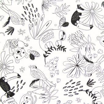 Tissu coton à colorier animaux jungle