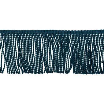Galon à frange torse bleu pétrole 10 cm