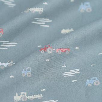 Tissu popeline coton tracteurs vert
