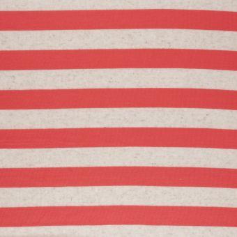 Tissu jersey rayé corail beige