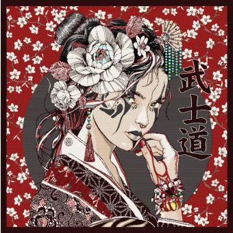 Carré de tissu jacquard geisha rouge