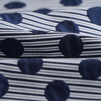 Tissu jacquard pois lignes écru noir