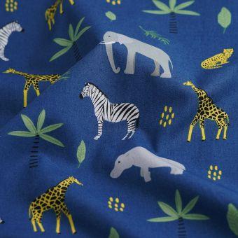 Tissu popeline coton animaux de la savane bleu