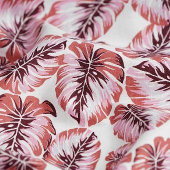 Tissu Cretonne palmes roses