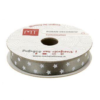 Bobine ruban satin gris étoiles 10 mm