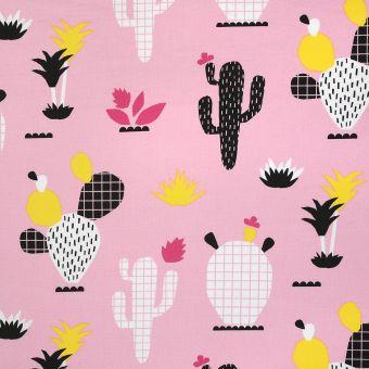 Tissu coton rose imprimé cactus