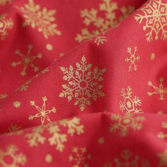 Tissu de Noël cretonne flocons dorés
