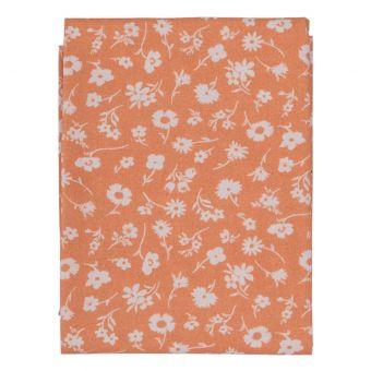 Coupon de tissu orange à fleurs