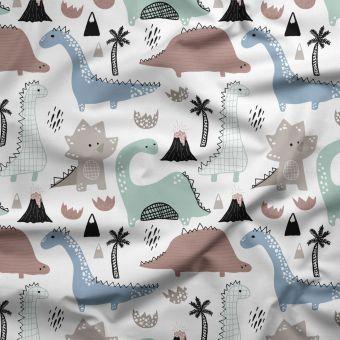 Tissu PUL pour les couches lavables dinosaures multicolore - La Panda Love Fabrics