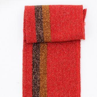 Bord côte et bas de blouson rayures lurex rouge