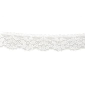 Dentelle nylon extensible blanc 26 mm