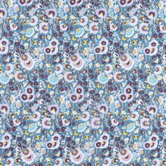 Tissu Liberty soie fleurs bleues