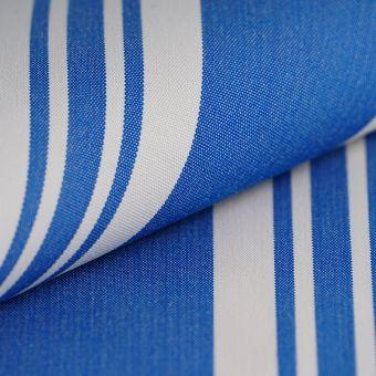 Tissu d'extérieur polyskin rayé bleu blanc
